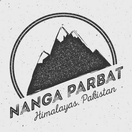Nanga Parbat in Himalayas, Pakistan outdoor adventure logo. Round mountain vector insignia. Climbing, trekking, hiking, mountaineering and other extreme activities logo template.