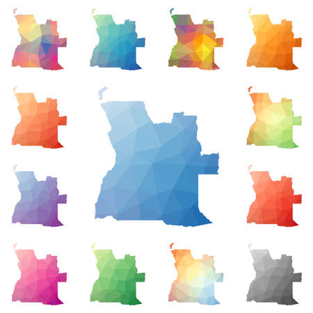 Angola geometric polygonal, mosaic style maps collection. Bright abstract tessellation, low poly style, modern design. Angola polygonal maps for your infographics or presentation. 向量圖像