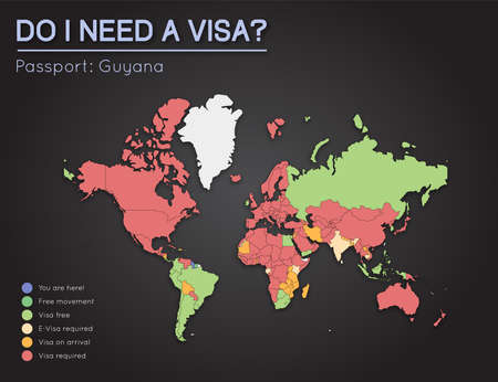 Visas information for Co-operative Republic of Guyana passport holders. Year 2017. World map infographics showing visa requirements for all countries. Vector illustration. Illustration