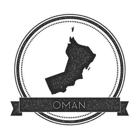 Retro distressed Oman badge with map. Hipster round rubber stamp with country name banner, vector illustration.
