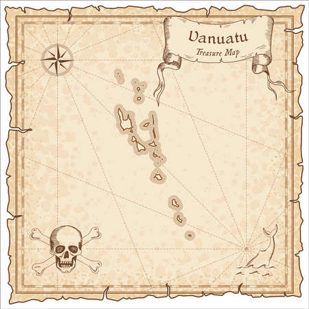 Vanuatu old pirate map. Sepia engraved template of treasure map. Stylized pirate map on vintage paper.