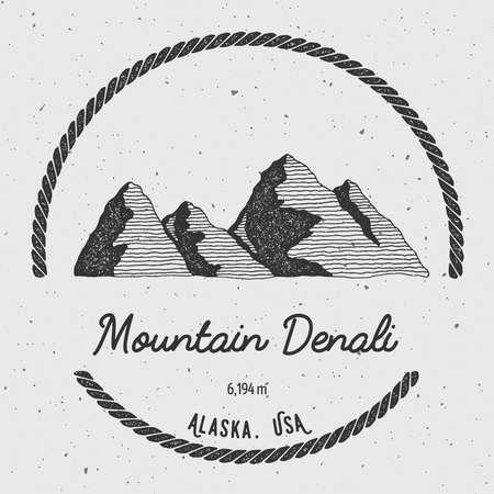 mountaineering: Denali in Alaska, USA outdoor adventure logo. Round trekking vector insignia. Climbing, trekking, hiking, mountaineering and other extreme activities logo template.