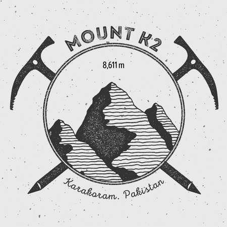 K2 in Karakoram, Pakistan outdoor adventure logo. Climbing mountain vector insignia. Climbing, trekking, hiking, mountaineering and other extreme activities logo template. Illustration