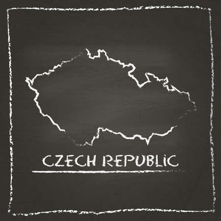 erased: Czech Republic outline vector map hand drawn with chalk on a blackboard. Chalkboard scribble in childish style. White chalk texture on black background. Illustration