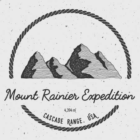 mountaineering: Rainier in Cascade Range, USA outdoor adventure logo. Round trekking vector insignia. Climbing, trekking, hiking, mountaineering and other extreme activities logo template.
