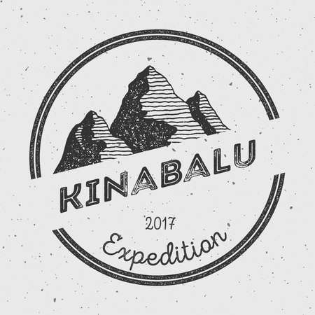 Kinabalu in Crocker Range, Malaysia outdoor adventure logo. Round expedition vector insignia. Climbing, trekking, hiking, mountaineering and other extreme activities logo template. Illustration