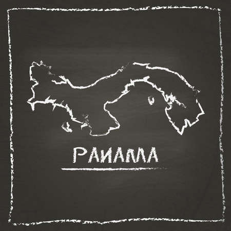 panamanian: Panama outline vector map hand drawn with chalk on a blackboard. Chalkboard scribble in childish style. White chalk texture on black background.