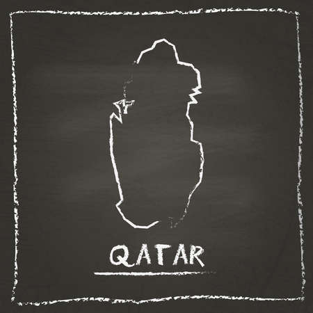 Qatar outline vector map hand drawn with chalk on a blackboard. Chalkboard scribble in childish style. White chalk texture on black background.