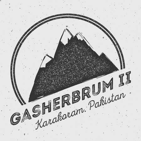 alpinism: Gasherbrum II in Karakoram, Pakistan outdoor adventure logo. Round mountain vector insignia. Climbing, trekking, hiking, mountaineering and other extreme activities logo template. Illustration