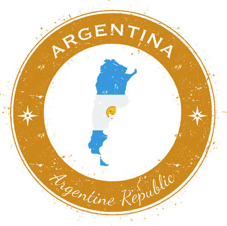 ensign: Argentina circular patriotic badge. Grunge rubber stamp with national flag, map and the Argentina written along circle border, vector illustration. Illustration