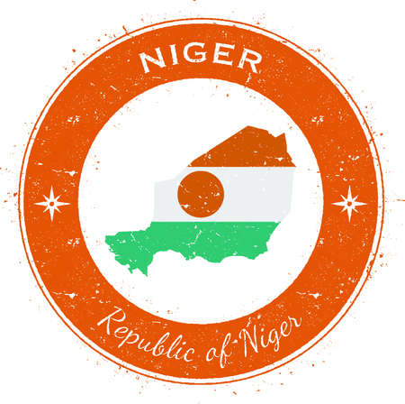 tarjeta visa: Niger circular patriotic badge. Grunge rubber stamp with national flag, map and the Niger written along circle border, vector illustration.