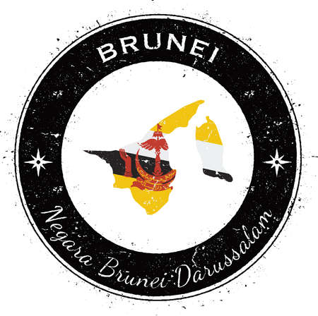 Brunei Darussalam circular patriotic badge. Grunge rubber stamp with national flag, map and the Brunei Darussalam written along circle border, vector illustration.