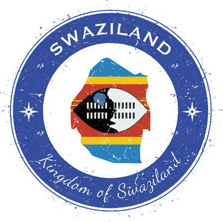 texturized: Swaziland circular patriotic badge. Grunge rubber stamp with national flag, map and the Swaziland written along circle border, vector illustration.