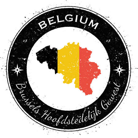 texturized: Belgium circular patriotic badge. Grunge rubber stamp with national flag, map and the Belgium written along circle border, vector illustration. Illustration