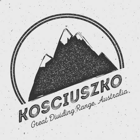 scaling: Kosciuszko in Great Dividing Range, Australia outdoor adventure logo. Round mountain vector insignia. Climbing, trekking, hiking, mountaineering and other extreme activities logo template.