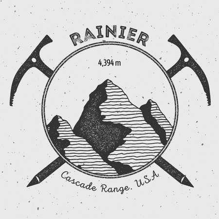 Rainier in Cascade Range, USA outdoor adventure logo. Climbing mountain vector insignia. Climbing, trekking, hiking, mountaineering and other extreme activities logo template.
