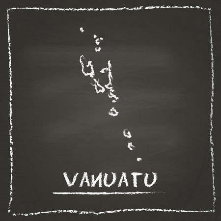 erasing: Vanuatu outline vector map hand drawn with chalk on a blackboard. Chalkboard scribble in childish style. White chalk texture on black background. Illustration