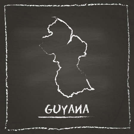 co operative: Guyana outline vector map hand drawn with chalk on a blackboard. Chalkboard scribble in childish style. White chalk texture on black background.