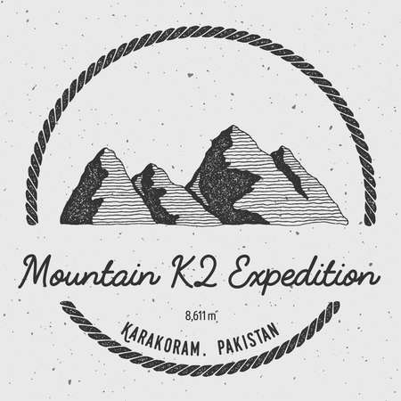mountaineering: K2 in Karakoram, Pakistan outdoor adventure logo. Round trekking vector insignia. Climbing, trekking, hiking, mountaineering and other extreme activities logo template.