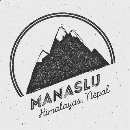 Manaslu in Himalayas, Nepal outdoor adventure logo. Round mountain vector insignia. Climbing, trekking, hiking, mountaineering and other extreme activities logo template.