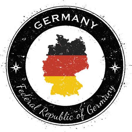 Distintivo patriottico circolare della Germania. Timbro di gomma di lerciume con la bandiera nazionale, la mappa e la Germania scritte lungo il confine del cerchio, illustrazione di vettore. Archivio Fotografico - 80321785