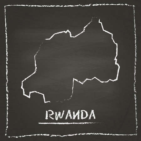 erasing: Rwanda outline vector map hand drawn with chalk on a blackboard. Chalkboard scribble in childish style. White chalk texture on black background. Illustration