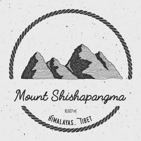 scrambling: Shishapangma in Himalayas, Tibet outdoor adventure logo. Round trekking vector insignia. Climbing, trekking, hiking, mountaineering and other extreme activities logo template.