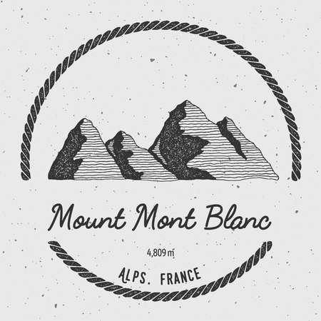 Mont Blanc in Alps, Italy outdoor adventure logo. Round trekking vector insignia. Climbing, trekking, hiking, mountaineering and other extreme activities logo template. Illustration