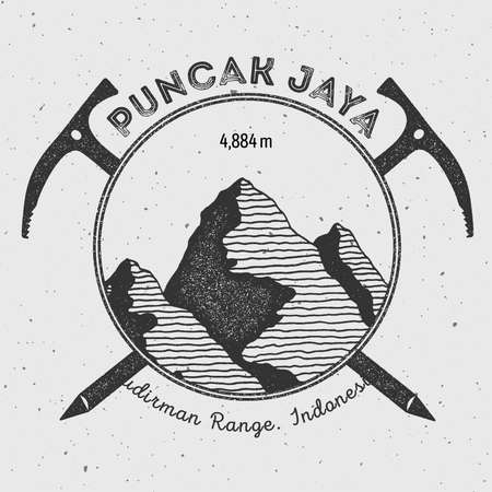 indo: Puncak Jaya in Sudirman Range, Indonesia outdoor adventure logo. Climbing mountain vector insignia. Climbing, trekking, hiking, mountaineering and other extreme activities logo template.