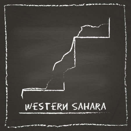 erased: Western Sahara outline vector map hand drawn with chalk on a blackboard. Chalkboard scribble in childish style. White chalk texture on black background.