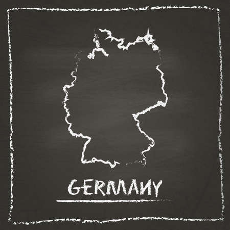 erasing: Germany outline vector map hand drawn with chalk on a blackboard. Chalkboard scribble in childish style. White chalk texture on black background.