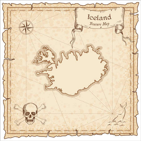 Iceland old pirate map. Sepia engraved template of treasure map. Stylized pirate map on vintage paper. Illustration