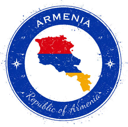 texturized: Armenia circular patriotic badge. Grunge rubber stamp with national flag, map and the Armenia written along circle border, vector illustration.