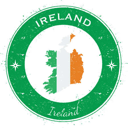 Ireland circular patriotic badge. Grunge rubber stamp with national flag, map and the Ireland written along circle border, vector illustration.