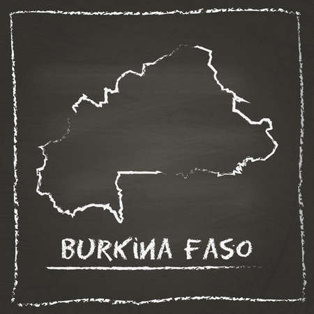 erased: Burkina Faso outline vector map hand drawn with chalk on a blackboard. Chalkboard scribble in childish style. White chalk texture on black background.