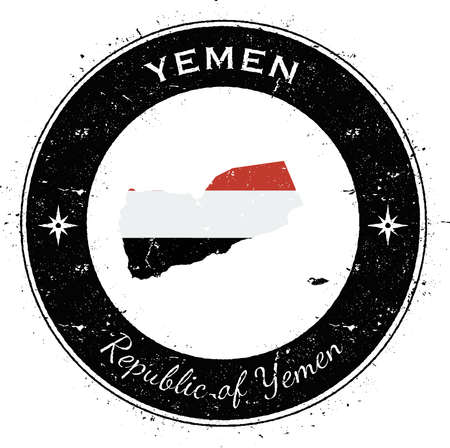 overseas: Yemen circular patriotic badge. Grunge rubber stamp with national flag, map and the Yemen written along circle border, vector illustration.