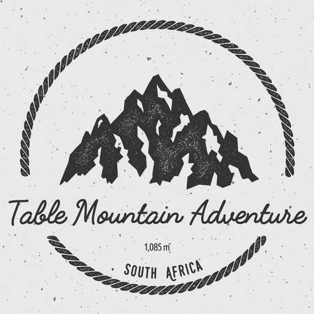elevate: Table Mountain in , South Africa outdoor adventure logo. Round hiking vector insignia. Climbing, trekking, hiking, mountaineering and other extreme activities logo template.