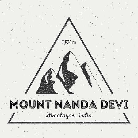 Nanda Devi in Himalayas, India outdoor adventure logo. Triangular mountain vector insignia. Climbing, trekking, hiking, mountaineering and other extreme activities logo template.