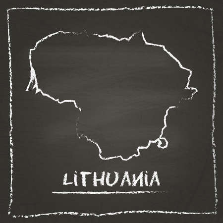 Lithuania outline vector map hand drawn with chalk on a blackboard. Chalkboard scribble in childish style. White chalk texture on black background.