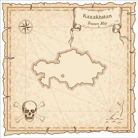 カザフスタン古い海賊の地図。宝の地図のセピア色の刻まれたテンプレートです。ビンテージ紙様式化された海賊の地図。