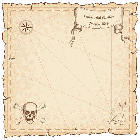 equatorial: Equatorial Guinea old pirate map. Sepia engraved template of treasure map. Stylized pirate map on vintage paper. Illustration
