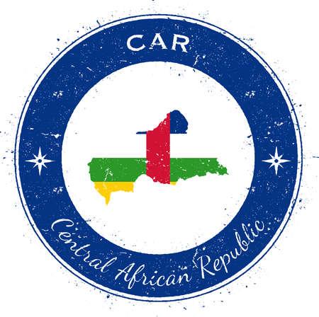Central African Republic circular patriotic badge. Grunge rubber stamp with national flag, map and the Central African Republic written along circle border, vector illustration. Illustration