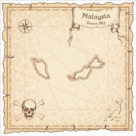 Malaysia old pirate map. Sepia engraved template of treasure map. Stylized pirate map on vintage paper.