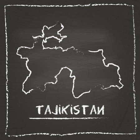 erased: Tajikistan outline vector map hand drawn with chalk on a blackboard. Chalkboard scribble in childish style. White chalk texture on black background.