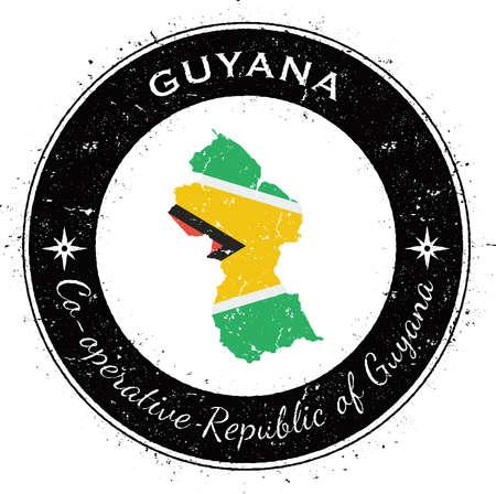 Guyana circular patriotic badge. Grunge rubber stamp with national flag, map and the Guyana written along circle border, vector illustration.