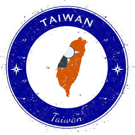 wanderlust: Taiwan, Republic Of China circular patriotic badge. Grunge rubber stamp with national flag, map and the Taiwan, Republic Of China written along circle border, vector illustration.
