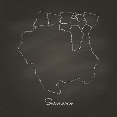 visualize: Suriname region map: hand drawn with white chalk on school blackboard texture. Detailed map of Suriname regions. Vector illustration.