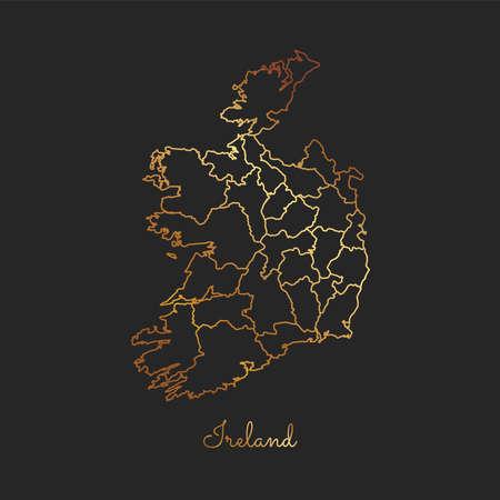 Ireland region map: golden gradient outline on dark background. Detailed map of Ireland regions. Vector illustration.