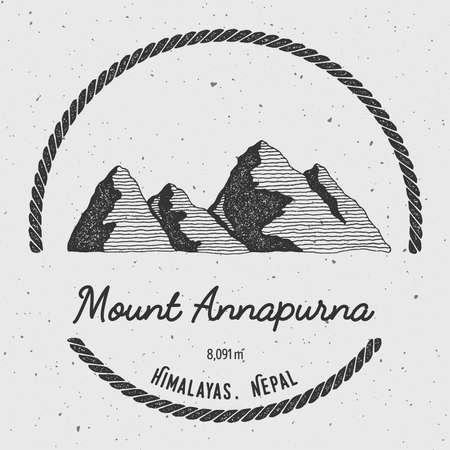 mountaineering: Annapurna in Himalayas, Nepal outdoor adventure logo. Round trekking vector insignia.