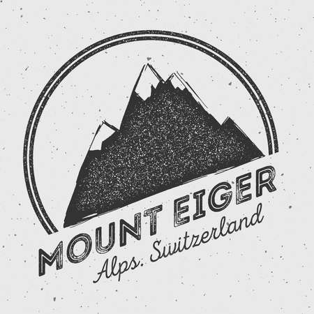 scaling: Eiger in Alps, Switzerland outdoor adventure logo. Round mountain vector insignia. Climbing, trekking, hiking, mountaineering and other extreme activities logo template.